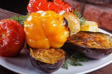 Овощи на гриле (картофель, баклажан, помидор, болгарский перец)